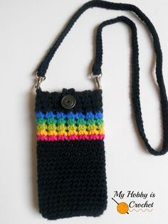 "Crochet Phone Cases My Hobby Is Crochet: ""Midnight Rainbow"" - Crochet Phone Cover with Detachable Strap; Tutorial - Trinity Stitch in the round - ""Midnight Rainbow"" Phone Cover - Free Crochet Pattern Tutorial Crochet Phone Cover, Crochet Case, Crochet Shell Stitch, Crochet Handbags, Crochet Purses, Crochet Designs, Crochet Patterns, Pochette Portable, Cell Phone Pouch"