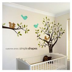 Tree with Forest Friends Decal Set - Kid's Nursery Room Vinyl Wall Decals. $135.00, via Etsy.