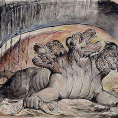 Inferno's, Canto X: Farinata e Cavalcante. Italian and english. William Blake, 1824-27.