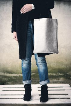 Silver Leather Tote, every day tote bag