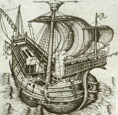 bedevaardersschip (kogge). Ets van een onbekende Vlaamse meester, 1470.