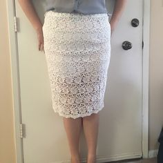 Host PickTall Sheer Lace Pencil Skirt Host Pick 4/21 Everything Plus Size PartyGorgeous Cream colored pencil skirt. The design on the lace is lovely and the hem of the skirt is beautifully scalloped. The back of the skirt has a fun zipper accent and the skirt is lightly lined midway. The size is 18 however is more true to a size 14. 26.5 inches long and a 36 inch waist.Host Pick for Style Staples Party 5/8/16 True Decadence Tall Skirts Pencil