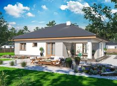 DOM.PL™ - Projekt domu ARP FABIAN CE - DOM AP2-32 - gotowy koszt budowy Beautiful House Plans, Beautiful Homes, Bungalow House Design, Bedroom Loft, Home Projects, My House, Gazebo, Places To Visit, Outdoor Structures