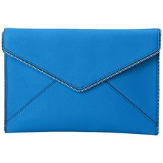 Rebecca Minkoff Leo Clutch (Denim Blue) Clutch Handbags (£48) ❤ liked on Polyvore featuring bags, handbags, clutches, blue, blue clutches, blue purse, denim handbags, rebecca minkoff clutches and blue handbags