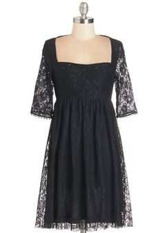 Enjoy the Elegance Dress - Mid-length, Knit, Lace, Black, Cutout, Exposed zipper, Lace, Party, LBD, 3/4 Sleeve