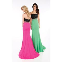 Mon Cheri MCE11607 Prom Mermaid Dress Long Strapless Sleeveless ($478) ❤ liked on Polyvore featuring dresses, gowns, formal dresses, evening gowns, long evening gowns, prom dresses, prom gowns and long formal evening gowns