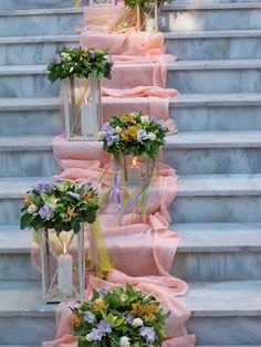 Decorate the stairs in your wedding venue with a strip of chiffon fabric cascading down them. Then decorate the stairs with flower arrangements made of glass candleholders. Wedding Stage, Diy Wedding, Rustic Wedding, Wedding Ceremony, Dream Wedding, Reception, Church Wedding Decorations, Ceremony Decorations, Wedding Centerpieces