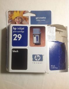 New HP 29 Black Ink Jet Cartridge Genuine Expired 2005 Open Box But Sealed Ink #HP #hp29ink