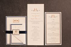 equestrian wedding invites by Hello! Lucky - love the horseshoes!