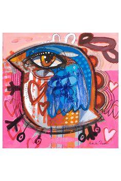 """Pissarro Rabbit Bird on Skates Giclee on Canvas - 30"""" x 30"""""""