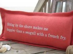 Sitting By The Shore...in poppy with sea mist thread.  Many color options to choose from.  Just added.  cottage coastal store