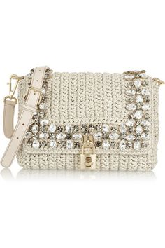 Dolce & Gabbana Crystal Embellished Raffia Shoulder Bag