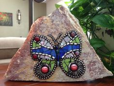Butterfly Mosaic Stained Glass Rock with Jewelry Garden Stone