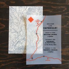 Super modern map design for Lindsay and Thomas' wedding in the Catskills. Letterpress and Silkscreen combo on Reich Natural White paper and vellum. Map Invitation, Wedding Invitation Paper, Handmade Wedding Invitations, Book Cover Design, Book Design, Map Design, Graphic Design, Text Layout, White Paper