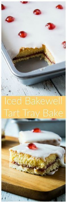 Iced Bakewell Tart Tray Bake - Take the classic cherry Bakewell tart recipe and make it into a tray bake! A golden layer of shortcrust pastry filled with an almond cake, strawberry jam, and topped with icing and glacé cherries! Tart Recipes, Baking Recipes, Sweet Recipes, Dessert Recipes, Tray Bake Recipes, Bolo Normal, Delicious Desserts, Yummy Food, Def Not