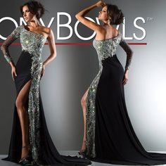 2013 Evening dresses Black Sexy One shoulder Long sleeve Sheath Sweep train