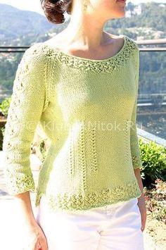 Салатовый пуловер Sorelle | Вязание для женщин | Вязание спицами и крючком. Схемы вязания.