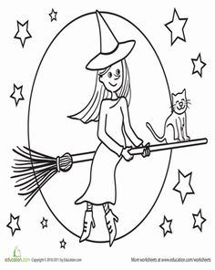 Halloween Kindergarten Holiday Worksheets: Color the Flying Witch