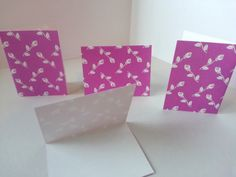 Set of 4 - Light Purple / Dark Pink with White Roses Folded Gift Tags