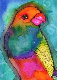 """""""Yellow Winged Bird"""" watercolor ATC by Bonnie Tincup"""