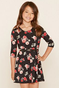 Forever 21 Girls - A knit dress featuring a round neckline, a scoop cutout back, an elasticized waist with a removable faux leather mini metallic studded belt, 3/4 sleeves, and an allover floral print. Matching leggings available.