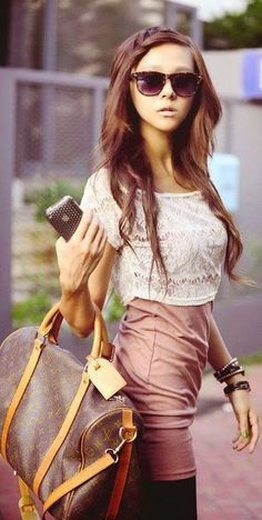 Street fashion crop top skirt