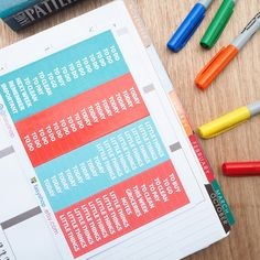 64 Aqua Headers Sticker Planner // ECLP Vertical by FasyShop on Etsy