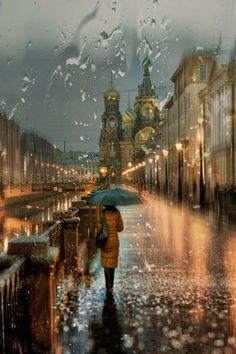 Rainy day in Russia. I LOVE the rain! I never feel happier or safer than in the middle of a major rain storm!--- I agree!