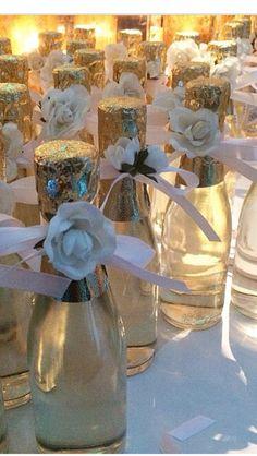 Wedding favours. Champagne bottles
