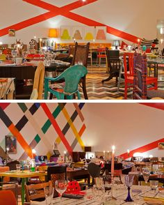 British artist Martin Creed designed the interior of London restaurant Sketch. Each item of furniture and tableware is unique, no two are the same. The result is an amazingly colorful and eclectic space.