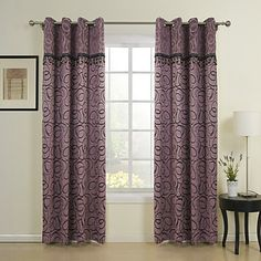 (One Panel) Traditional Purple Jacquard Energy Saving Curtain  With Beads – USD $ 24.99