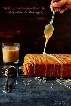 EXOTIC INDIAN CHAI CAKE - Milk Tea, Cardamom & Rose Cake With A Brown Butter & Cardamom Glaze. I love a cup of traditional Indian milk tea and this cake captures the flavors perfectly. The brown butter glaze on top is literally the icing on the cake!! And oh, the cake itself has no eggs and butter, making it easier to mix up, healthier and incredibly moist and delicious. #happyandharried #milk #black #tea #chai #cake #cardamom #rose #brown #butter #glaze #eggfree #eggless
