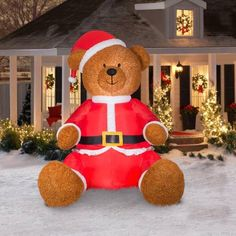9' Airblown Inflatable Teddy Bear with Santa Outfit Christmas Inflatable