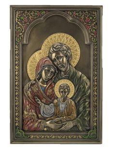 Holy Family Icon Wall Plaque Jesus Mary Joseph – Beattitudes Religious Gifts