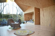 reiulf ramstad v-lodge timber cabin norway designboom Interior Architecture, Interior And Exterior, Interior Design, Sleeping Nook, Plywood Interior, Secluded Cabin, Timber Cabin, Casas Containers, Pinterest Home