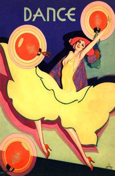 Art for Dance magazine cover for June 1930's featuring a lady performer in a yellow dress surrounded by Japanese lanterns. Alberto Vargas (Peruvian, 1896-1982). In the 1930s, in addition to magazine cover art, Vargas painted pastel portraits of the 20th Century Fox stars as well as those from Warner Brothers and MGM. Hellman's Mayonnaise commissioned a series of full-length movie star portraits for their advertisements.