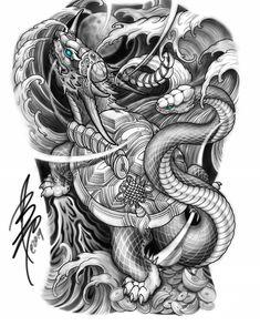 Dragon turtle and chrysanthemum 🐲 . Japanese Snake Tattoo, Japanese Dragon Tattoos, Japanese Tattoo Designs, Japanese Sleeve Tattoos, Full Back Tattoos, Full Body Tattoo, Body Art Tattoos, Tattoo Samurai, Tortoise Tattoo