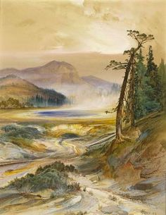 Excelsior Geyser, Yellowstone Park by Thomas Moran. Search the Smithsonian American Art museum collection, one of the world's largest and most inclusive collections of art made in the United States. Thomas Moran, Art Thomas, Cool Landscapes, Landscape Paintings, Edward Moran, Hudson River School, Western Landscape, Yellowstone Park, Soul Art