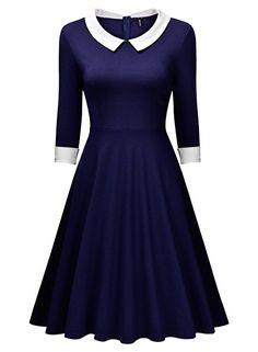 Miusol® Damen Knielang 1/2 Arm Rundhals Vintage Kleid Abendkleid Rockabilly Festlich Kleider Blau Gr.S