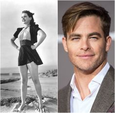 Actress Anne Gwynne and her grandson actor Chris Pine.