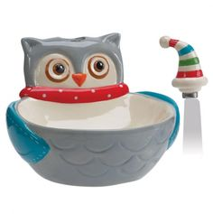 Snowy Owls Dip Bowl and Spreader