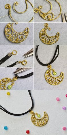 Wanna this wire wrapped moon pendant necklace