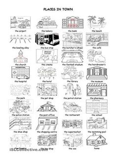 7 Best Images of Places In Town Worksheet - Places in My Town Worksheets, Community Places Worksheets and Simple Map Worksheet Printable Study French, Core French, Learn French, French Teaching Resources, Teaching French, Teaching English, Teaching Ideas, Map Worksheets, French Worksheets