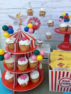 The cupcakes at this Dumbo Baby Shower are so cool! See more party ideas and share yours at CatchMyParty.com #catchmyparty #partyideas #dumboparty #circusbabyshower #dumbobabyshower #boybabyshower #dumbocupcakes