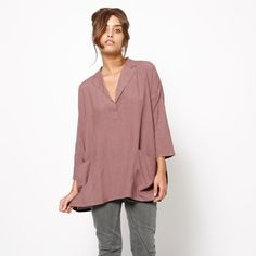 Women purple oversized blouse, light pink top, 3/4 sleeves