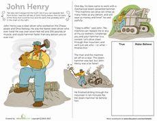 John Henry Tall Tale Worksheet