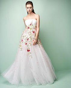 A floral fantasy afloat on pure white, sea foam...GEORGES HOBEIKA Ready-to-Wear SS17. #georgeshobeika #ss17 #rtw #paris#pfw#accessories