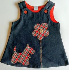 Adorable denim pinafore with Scottie dog applique age 6 months. Baby Dress Patterns, Baby Clothes Patterns, Clothing Patterns, Denim Pinafore, Pinafore Dress, Fashion Kids, Little Girl Dresses, Baby Sewing, Kids Outfits