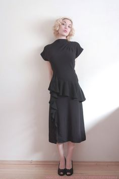 Vintage Little Black Dress    Draped to Perfection    1940s