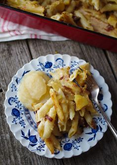 Alpine macaroni and cheese with potatoes, bacon, and applesauce